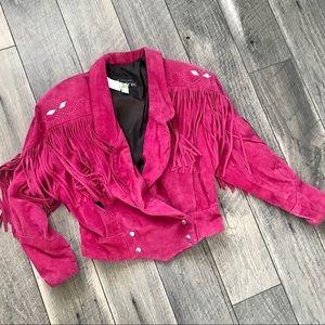 Pink leather fringe jacket